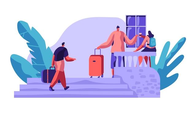 Pessoas caráter comunicam fora do hostel veranda talking drink coffee. conceito de hotel de viagens de economia internacional. pessoas reservando hotel para ilustração vetorial de desenho animado de apartamento de férias