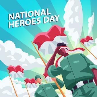 Pessoas caráter indonésio homem com bandeira e fundo nuvem, para suas redes sociais, cartaz, cartão de felicitações