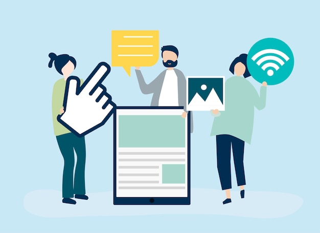 Pessoas carregando ícones diferentes relacionados à mídia on-line