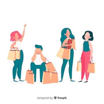 Pessoas carregando sacolas de compras collectio