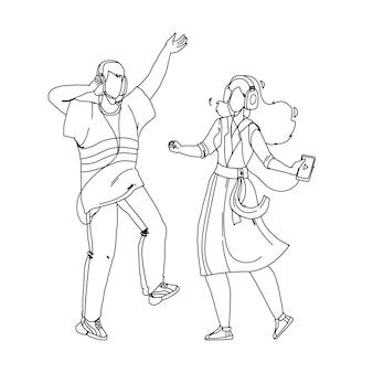 Pessoas casal ouvindo música e dança