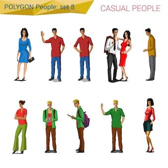 Pessoas casuais de estilo poligonal conjunto de ilustrações.