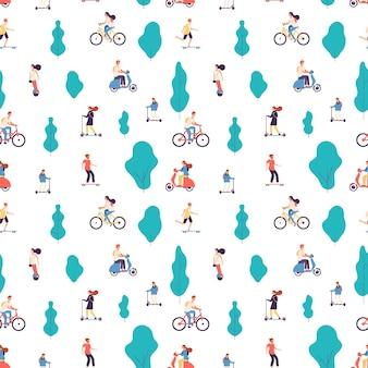 Pessoas cavalgam. homens e mulheres em bicicletas, patinetes e skate, fundo de giroscooter.