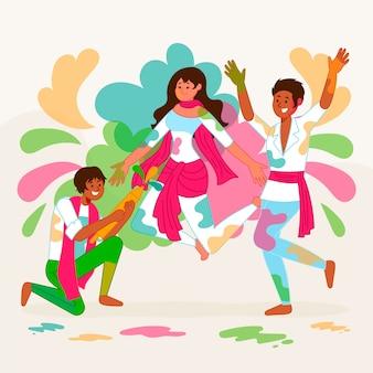 Pessoas celebração holi festival ilustração artística