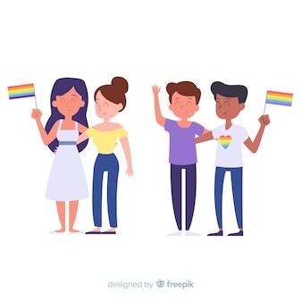 Pessoas celebrando a coleção de dia do orgulho