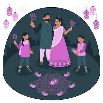 Pessoas celebrando a ilustração do conceito de diwali