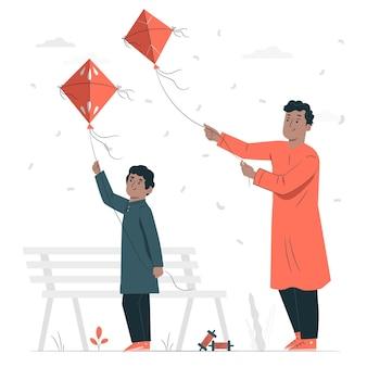 Pessoas celebrando a ilustração do conceito de makar sankranti