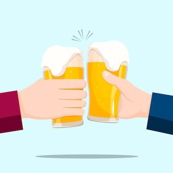 Pessoas celebrando com copos de cerveja e fundo azul