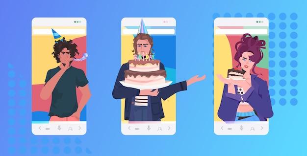 Pessoas celebrando festa online misturam amigos de corrida tendo o conceito de celebração de diversão virtual. tela do smartphone ilustração retrato horizontal do aplicativo móvel