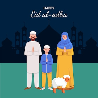 Pessoas celebrando ilustração de eid al-adha