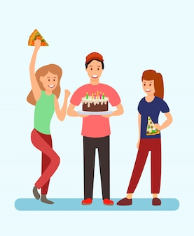 Pessoas celebrando ilustração de festa de aniversário