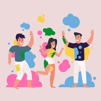 Pessoas celebrando ilustração do festival de holi
