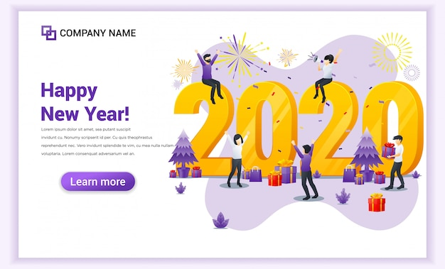 Pessoas celebrando o ano novo 2020 com banner de decoração, presentes e fogos de artifício