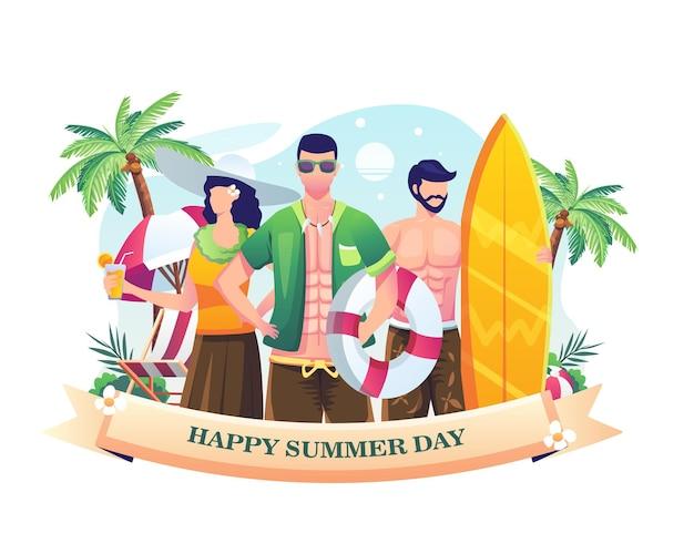 Pessoas celebrando o dia de verão na praia ilustração feliz dia de verão