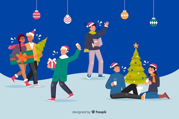 Pessoas celebrando o estilo cartoon de natal