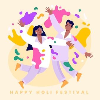 Pessoas celebrando o festival de holi