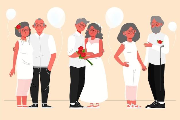Pessoas celebrando seu aniversário de casamento de ouro