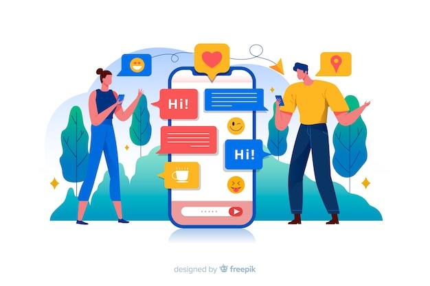 Pessoas cercadas por ilustração de conceito de ícones de mídias sociais