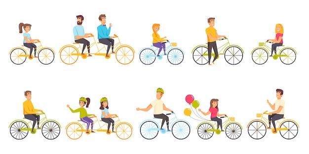 Pessoas ciclistas personagem plana definida