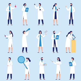 Pessoas cientistas. assistente de laboratório de ciências, pesquisadores químicos e conjunto de caracteres do professor cientista