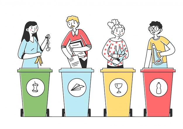 Pessoas classificando ilustração de lixo e lixo