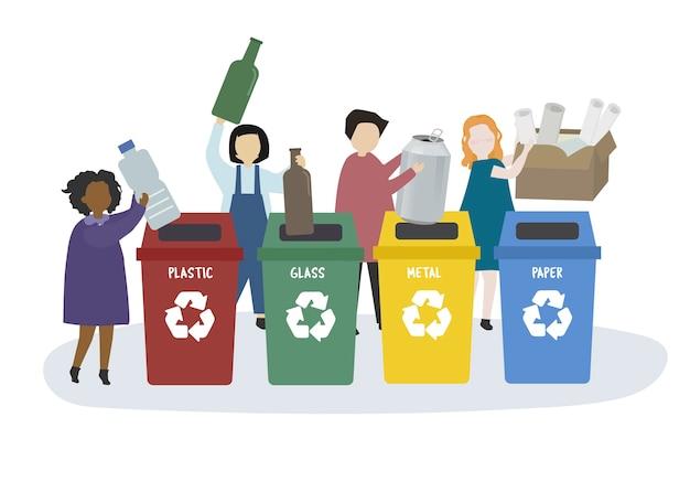 Pessoas, classificando o lixo em lixeiras