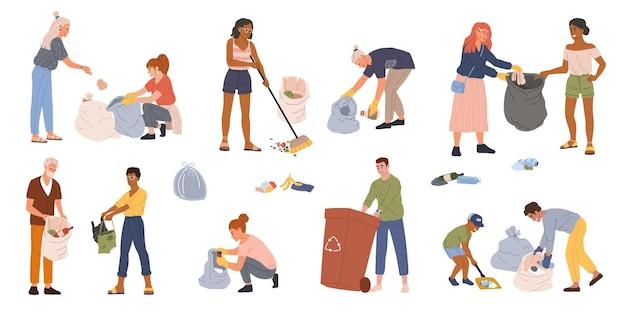 Pessoas coletando lixo em recipientes de sacos de lixo homens mulheres voluntárias catando conjunto de lixo
