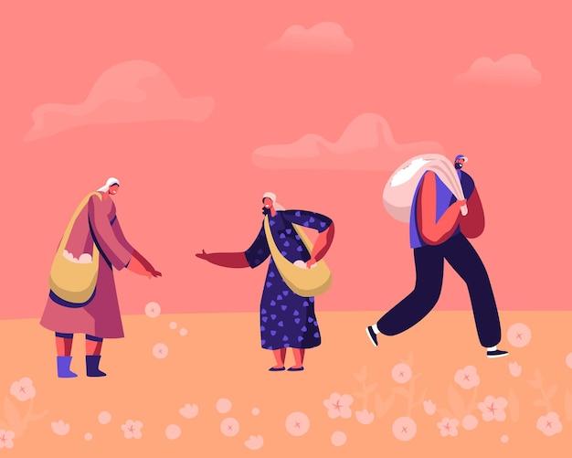 Pessoas colhendo flores maduras de algodão no campo mulheres com sacolas de ombro conversando, homem trabalhador carrega um saco cheio de matéria-prima. ilustração plana dos desenhos animados