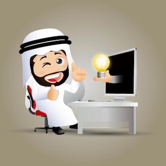 Pessoas colocam empresários árabes na frente do computador