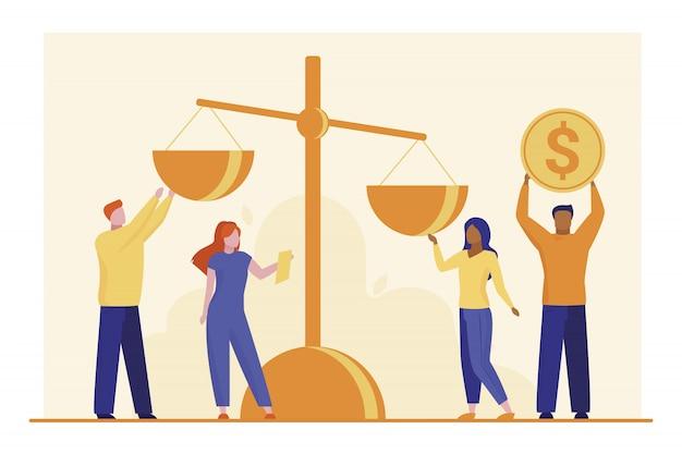 Pessoas colocando dinheiro em escala