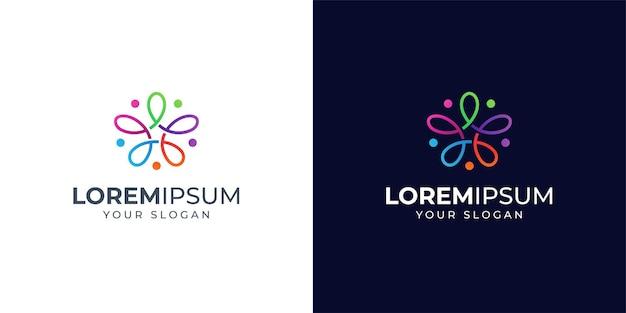 Pessoas coloridas e inspiração de design de logotipo de estrela. logotipo floral