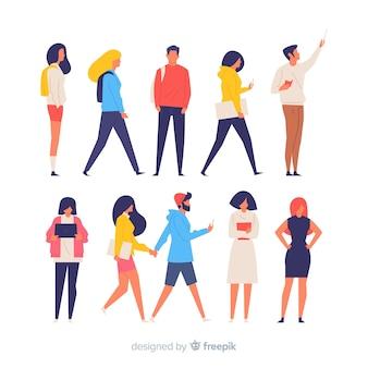 Pessoas coloridas fazendo ações diferentes