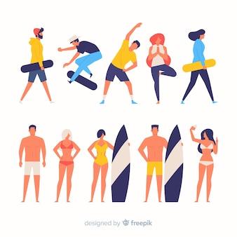 Pessoas coloridas fazendo esporte