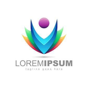 Pessoas coloridas logo design vector