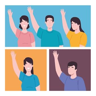 Pessoas com a mão esquerda levantada