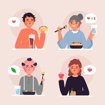 Pessoas com alimentos