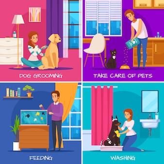 Pessoas com animais de estimação 2x2 design concept