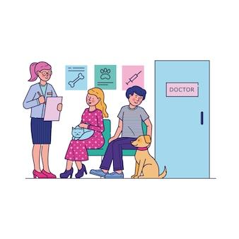 Pessoas com animais de estimação à espera de médico na fila