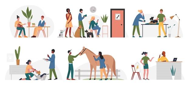 Pessoas com animais na clínica veterinária, proprietários de animais de estimação, visitam o médico veterinário