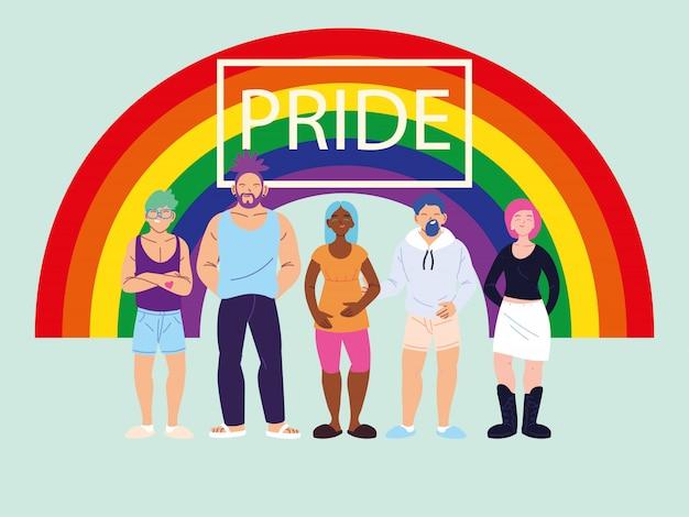 Pessoas com arco-íris, símbolo do orgulho gay