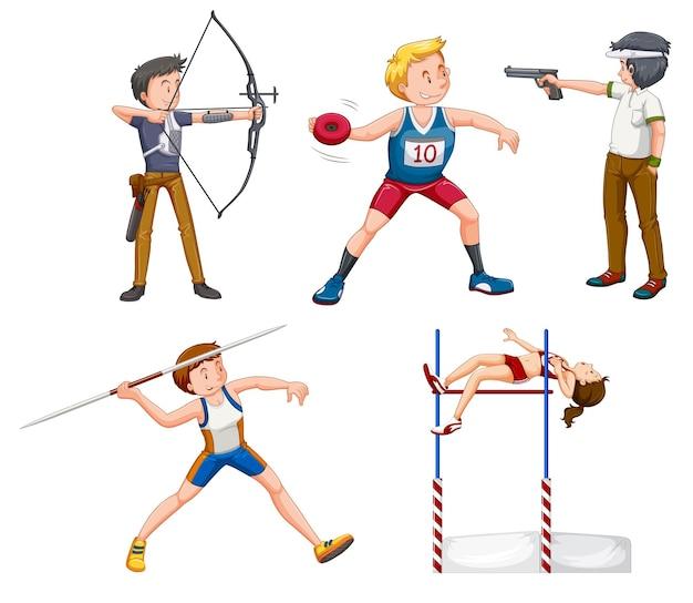 Pessoas com atividades esportivas em fundo branco