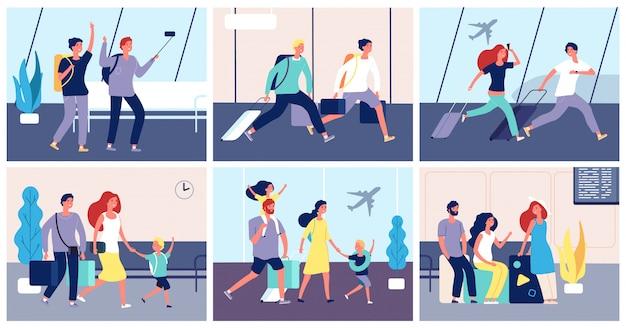 Pessoas com bagagem no terminal do aeroporto internacional