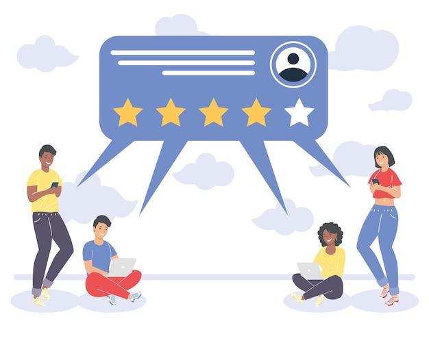 Pessoas com balão de feedback