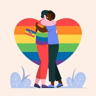 Pessoas com bandeira do orgulho abraçando