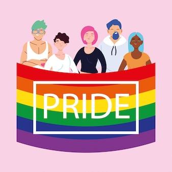 Pessoas com bandeira do orgulho lgbtq, igualdade e direitos dos homossexuais