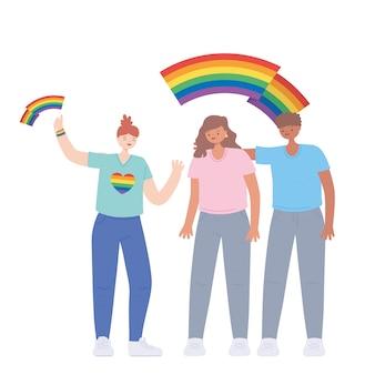 Pessoas com bandeiras do arco-íris