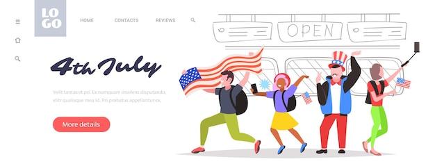 Pessoas com bandeiras dos eua comemorando, página de destino da celebração do dia da independência americana em 4 de julho