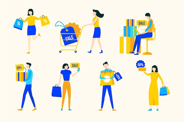 Pessoas com bandejas de compras desenhadas à mão plana