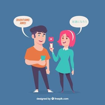 Pessoas com bolhas do discurso em diferentes idiomas