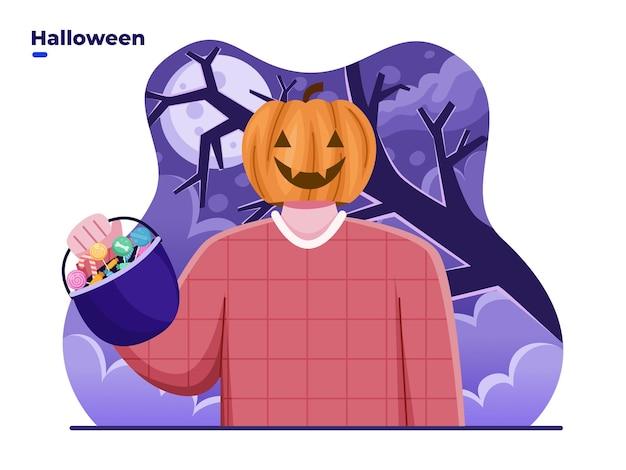 Pessoas com cabeça de abóbora ou fantasia de jack o lantern celebram o dia de halloween trazendo um saco de doces